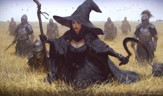 Фото Колдунья с серпом и посохом идет по полю в окружении армии мертвых, by KILART