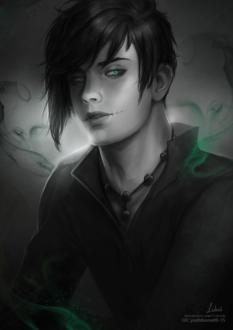 Фото Зеленоглазый темноволосый парень со шрамами на лице, от которого идет зеленый дым, by Lidiash