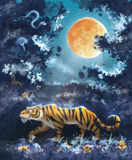 Фото Тигр идет на фоне зарослей джунглей и луны в ночном небе, by Anna Dluzewska