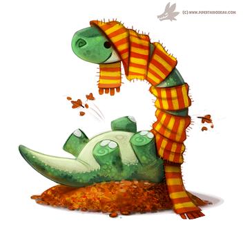 Фото Апатозавр с шарфом на осенних листьях, by Cryptid-Creations