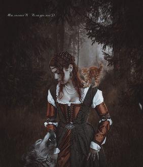 Фото Девушка, волк и котенок в темном лесу, by Владимир Малышев
