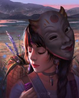 Фото Девушка с маской демона на голове, by A1AYNE