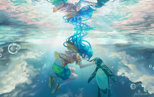 Фото Девушка и пингвин под водой, by EndlessRz