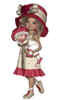 Фото Кукла в шляпке с бантом держит на руках младенца с соской