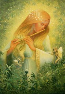 Фото Девушка с закрытыми глазами играет на свирели, на фоне летают ангелочки