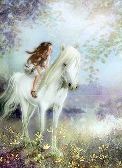 Фото Девочка сидит на белой лошади, художник Yokota Miharu
