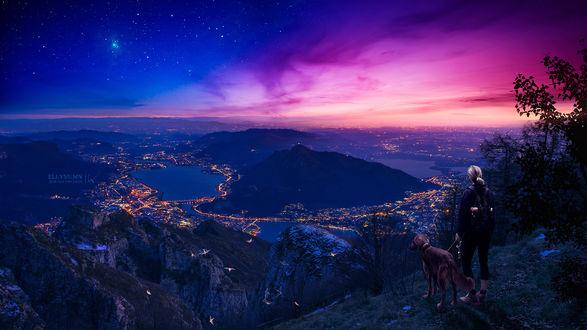 Фото Девушка с собакой стоят на фоне ночной панорамы на побережье, by Gene Raz von Edler