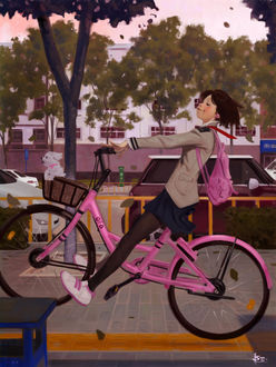 Фото Девочка-школьница на розовом велосипеде едет по городской улице и щенок в корзинке впереди, by FUNKYMONKEY1945