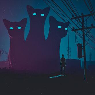 Фото Человек стоит перед силуэтами огромных котов, by hotamr