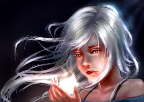 Фото Девушка со слезами на глазах смотрит на светящийся предмет, by b1tterRabbit