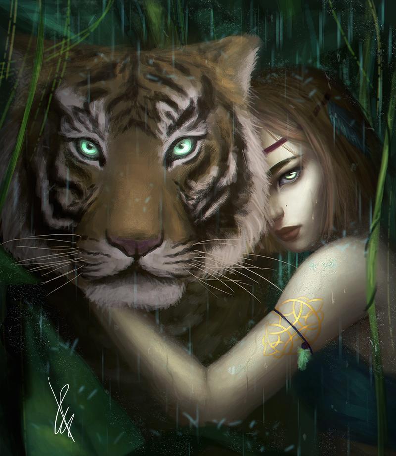 Картинки девушка с тигром со словами