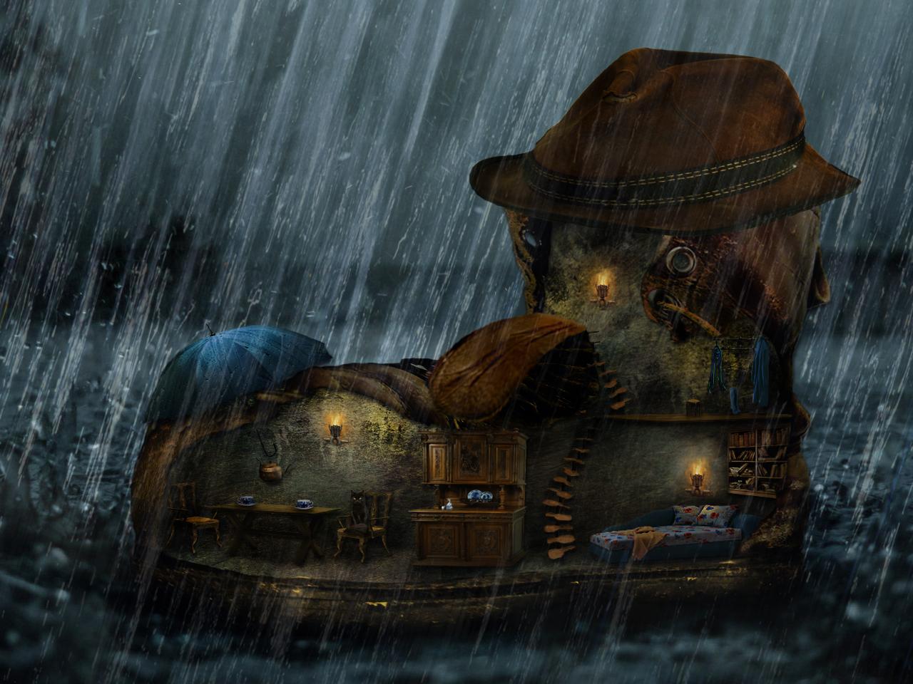 Фото Домик в виде ботинка под дождем, by Avi-li