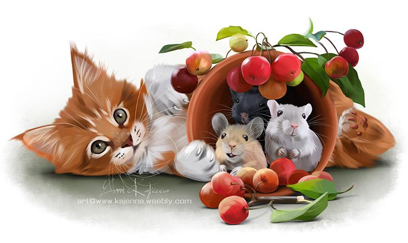 Фото Рыжий котенок и три мышки в горшке, by Kajenna