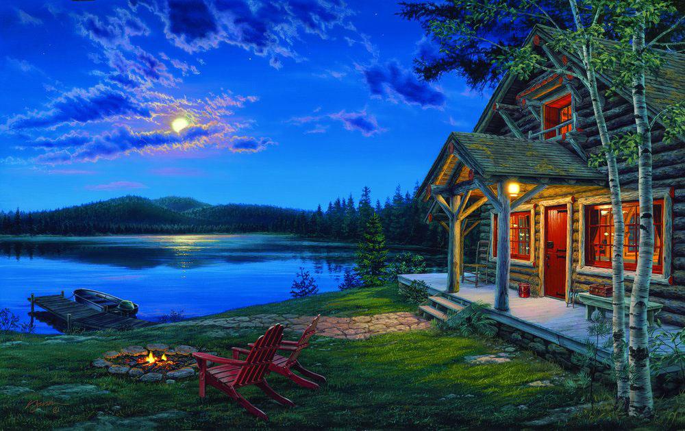 Фото Деревянный дом, костер на берегу озера и лодка в воде лунной ночью, художник Darrell Bush