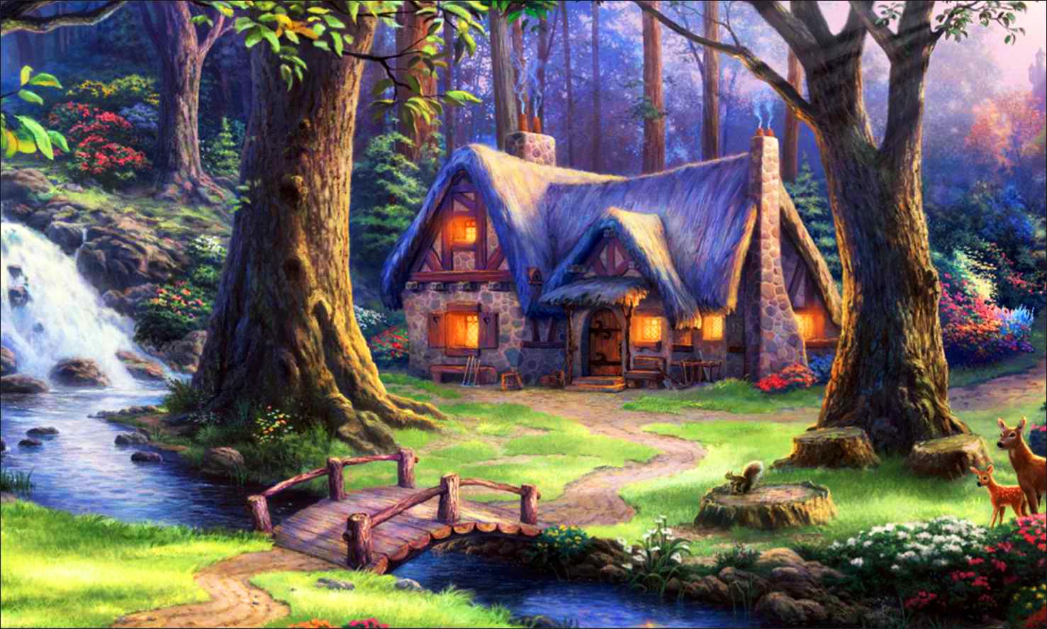 Картинки с лесом и домиком для детей