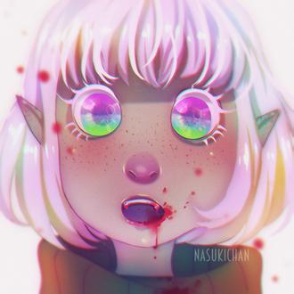 Фото Белокурая девочка-вампир с радужными глазам, рот которой испачкан кровью, by Nasuki100