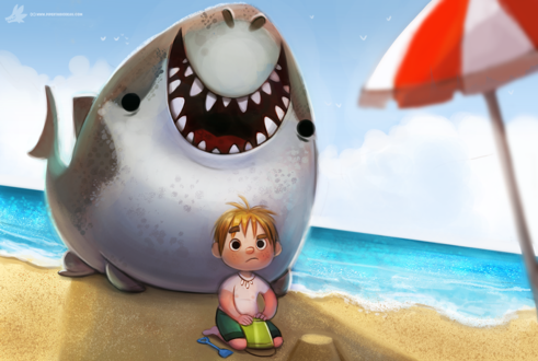 Фото Мальчик сидит на песке на фоне акулы, by Cryptid-Creations
