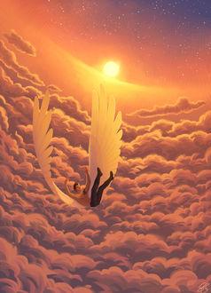 Фото Парень с крыльями в облаках