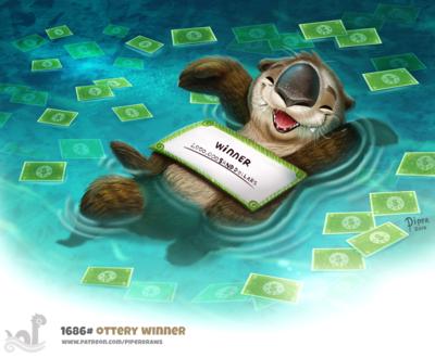 Фото Животное в воде с деньгами и чеком на миллион, by Cryptid-Creations