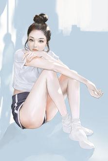 Фото Девушка сидит в шортах и белой футболке, by braveking