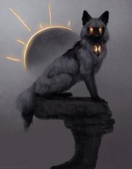 Фото Волк, с горящими глазами, сидит на камне на фоне луны, by Jade Mere