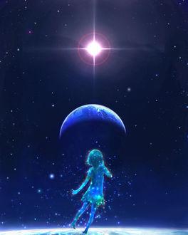 Фото Девочка в окружении звезд в космосе, by 00