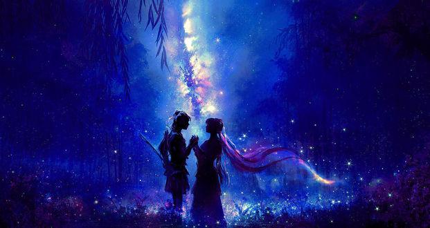 Фото Влюбленные стоят на поляне в ночном лесу, by 00