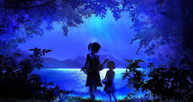 Фото Девушка с цветком в руке и девочка стоят возле водоема ночью, by 00