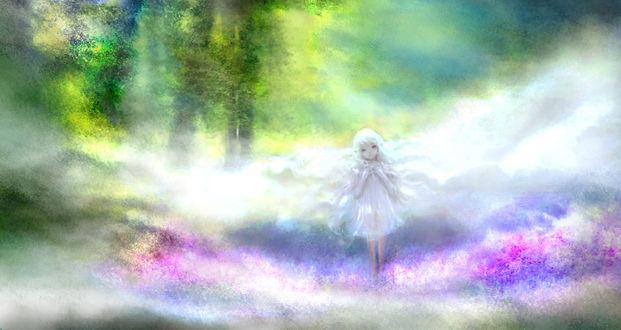 Фото Белокурая девочка-эльф на фоне природы, by 00