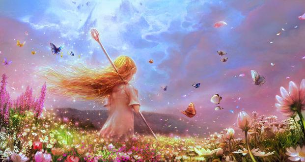 Фото Рыжеволосая эльфийка с посохом стоит на цветочной поляне, над которой порхают бабочки, by 00