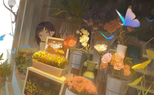 Фото Девочка-эльф за витриной цветочного магазина, by Echo