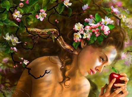 Фото Девушка держит яблоко в руках