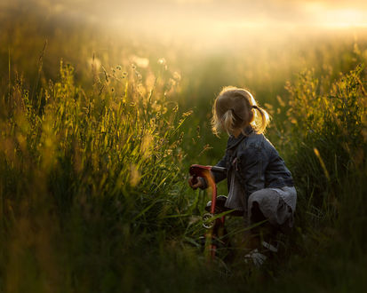 Фото Девочка на велосипеде сидит в траве, фотограф Iwona Podlasinska