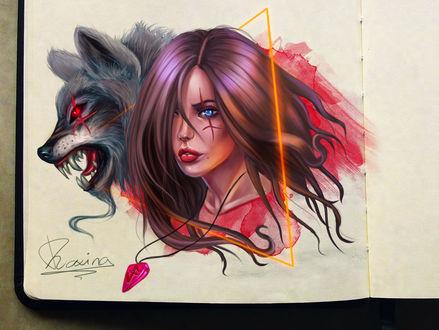 Фото Девушка и волк с кровавыми глазами, by Dhaxina _
