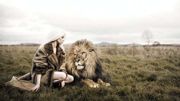 Фото Белокурая девушка в пальто, присев ко льву по среди саванны, смотрит на него