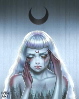 Фото Девушка со знаком черной луны во лбу, by Artespell