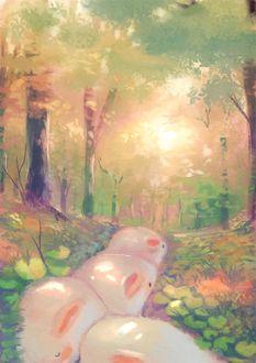 Фото Толстые белые кролики на тропинке в лесу, by manino