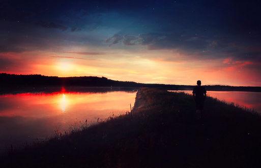 Фото Парень прогуливается вдоль озера, by BaxiaArt