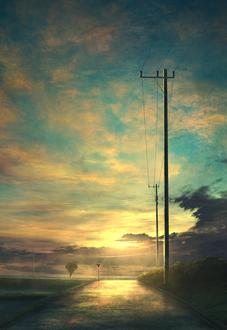 Фото Дорога в лучах закатного солнца, by mks