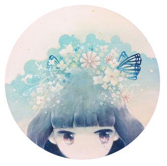 Фото Девочка с цветами и бабочками на волосах, by mi