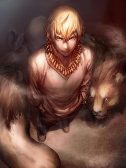 Фото Арчер (Гильгамеш) / Gilgamesh из аниме Судьба / Начало / Fate / Zero стоит со львами вложив руки в карманы