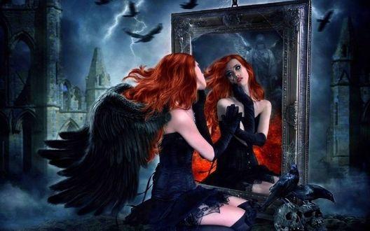 Фото Черный ангел смотрит в зеркало, by EstherPuche-Art
