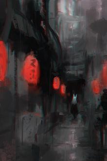 Фото Белокурая девушка с ушками идет по улице, освещаемой красными фонариками, by Alex-Chow