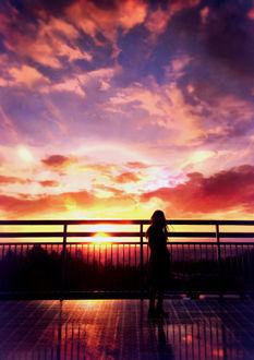 Фото Девушка на фоне заката