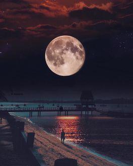 Фото Парень прогуливается на побережье под ночным небом с полной луной