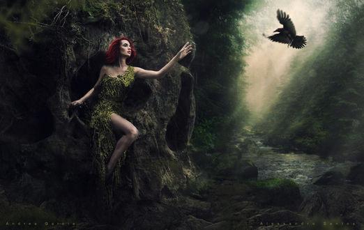 Фото Девушка у каменного черепа протягивает руку к птице, by AndyGarcia666