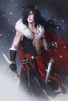 Фото Парень с кошачьими ушками и в черной одежде держит в руках меч и кинжал, by Zetsuai89