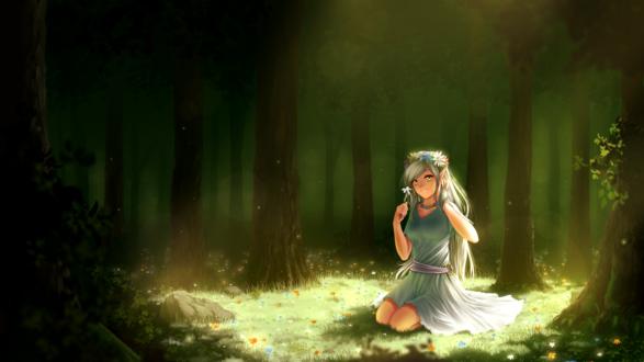 Фото Девочка -эльф сидит на поляне в лесу, by Juh-Juh