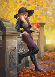 Фото Девушка в шляпе с осенним листком в руке, by Jeremie Fleury