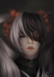 Фото Девушка с черно-белыми волосами с повязкой на глазе, by Nhu Lam